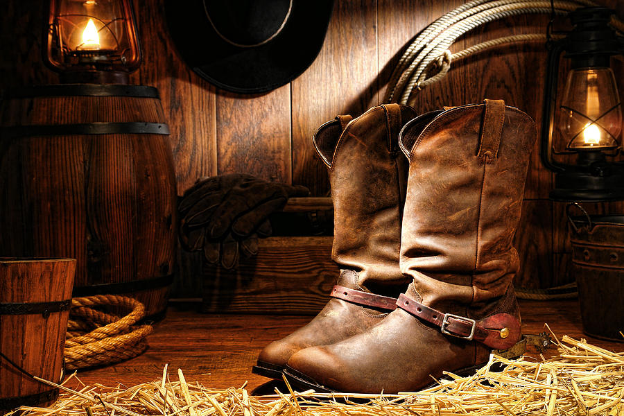 Mens Cowboy Boots On Hay