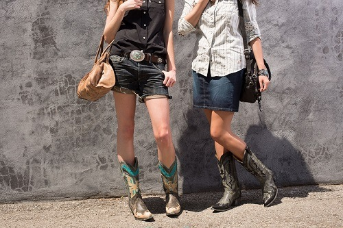 Two Girls Wearing Cowboy Boots