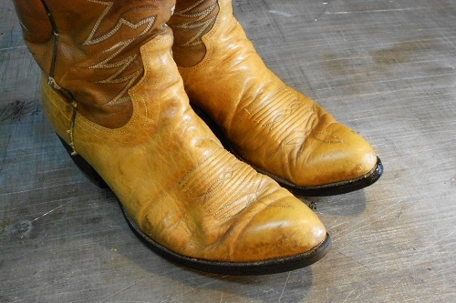 Small Wrinkles On Yellow Cowboy Boots